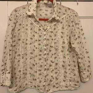 Vintage style floral pearl snap button up shirt